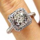 GIA 3.01CT VINTAGE ESTATE CUSHION DIAMOND HALO ENGAGEMENT WEDDING RING