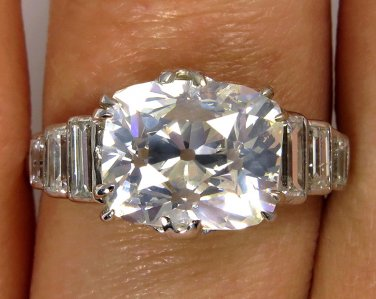 4.61CT ANTIQUE VINTAGE DECO OLD CUSHION DIAMOND ENGAGEMENT WEDDING RING EGL USA