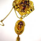 1870 VICTORIAN ANTIQUE GARNET NECKLACE PENDANT Convertable PIN BROOCH ORIGINAL!