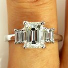 GIA 2.60CT ESTATE VINTAGE EMERALD CUT DIAMOND ENGAGEMENT WEDDING RING 3 STONE WG
