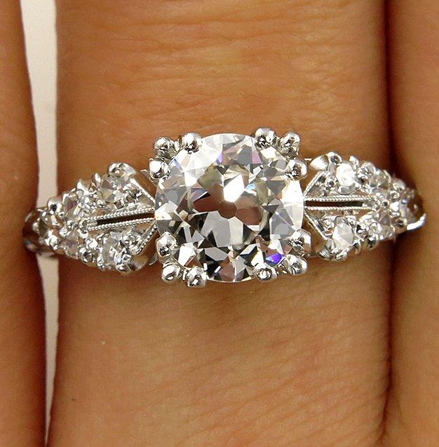 deco antique vintage old euro diamond engagement wedding ring egl usa pla. Black Bedroom Furniture Sets. Home Design Ideas