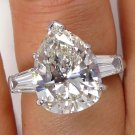 GIA 4.74CT ESTATE VINTAGE PEAR SHAPED DIAMOND ENGAGEMENT WEDDING RING PLATINUM