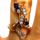 1.70CT ANTIQUE VINTAGE DIAMOND SAPPHIRE CLUSTER ENGAGEMENT WEDDING RING 14K ROSE
