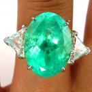 GIA 10.55CT ESTATE VINTAGE GREEN EMERALD DIAMOND ENGAGEMENT WEDDING RING 18KY PT