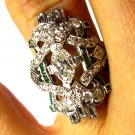 2.25CT DECO ANTIQUE VINTAGE DIAMOND EMERALD ENGAGEMENT WEDDING RIGHT HAND RING