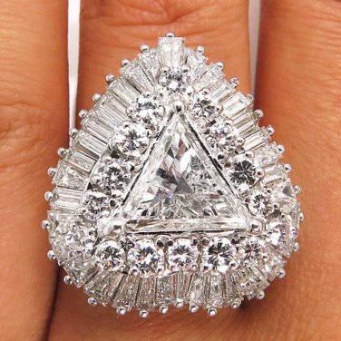 5.35CT ESTATE VINTAGE TRILLION DIAMOND BALLERINA ENGAGEMENT WEDDING RING EGL USA