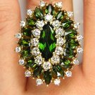 9.73CT HUGE VINTAGE ESTATE RETRO GREEN TOURMALINE DIAMOND CLUSTER BALLERINA RING