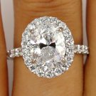 2.36CT ESTATE VINTAGE OVAL DIAMOND ENGAGEMENT WEDDING RING HALO EGL USA 18K WG
