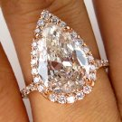 3.78CT ESTATE VINTAGE PEAR DIAMOND ENGAGEMENT WEDDING RING HALO ROSE GOLD EGL US