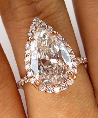 3.78CT ESTATE VINTAGE PEAR DIAMOND ENGAGEMENT WEDDING RING HALO ROSE GOLD EGL US