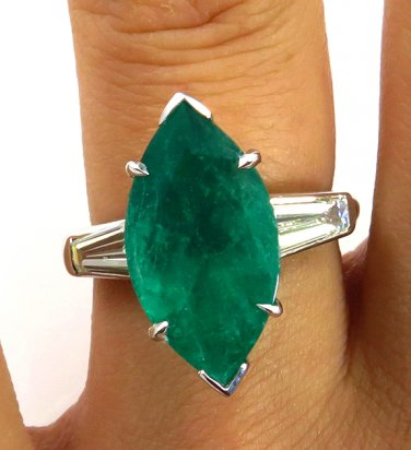 GIA 5.41CT VINTAGE ESTATE MARQUISE GREEN EMERALD DIAMOND ENGAGEMENT WEDDING RING