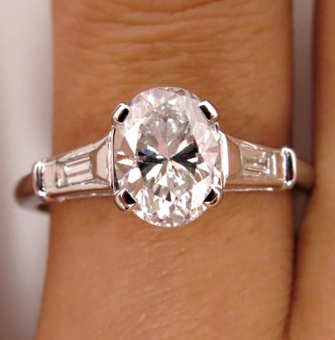 GIA 1.64CT ESTATE VINTAGE COLORLESS OVAL DIAMOND ENGAGEMENT WEDDING RING PLAT
