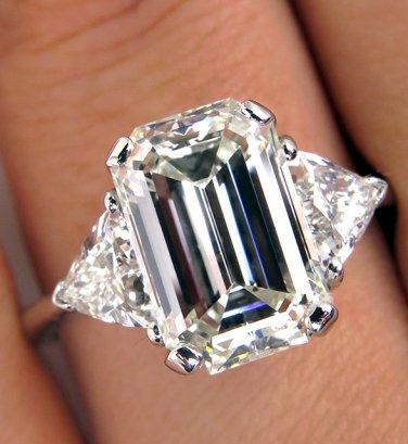 GIA 4.58CT ESTATE VINTAGE EMERALD CUT DIAMOND ENGAGEMENT WEDDING RING TRILLIONS