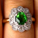 2.00CT ANTIQUE VINTAGE DIAMOND DEMANTOID ENGAGEMENT WEDDING CLUSTER RING 1900s