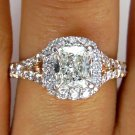 GIA 1.79CT VINTAGE ESTATE CUSHION DIAMOND ENGAGEMENT WEDDING RING HALO ROSE GOLD