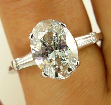 GIA 2.27CT ESTATE VINTAGE OVAL DIAMOND SOLITAIRE ENGAGEMENT WEDDING RING 14K WG
