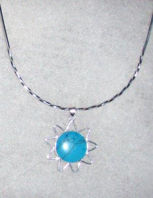 Silver .950 Peruvian Turquoise Sun Pendant