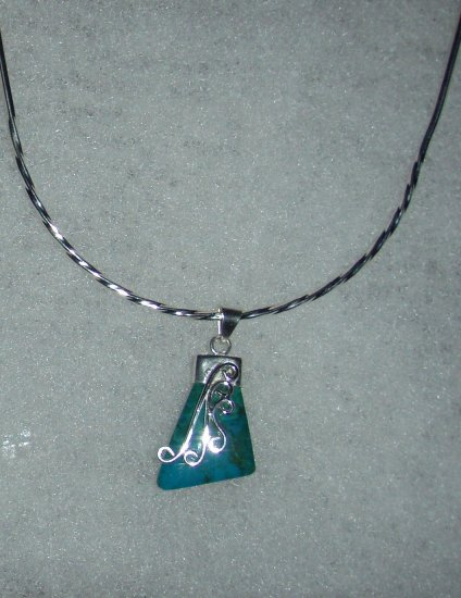 Silver .950 Crisocola Turquoise Pendant
