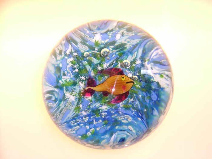 Signed Andrew  Holmes  Traditional Fish Paperweight