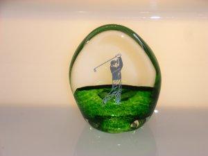 Scottish Borders Art Glass Golf Trophy / Paperweight