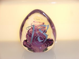 Scottish Borders Art Glass 18th Birthday Trophy / Paperweight
