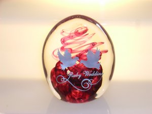 Scottish Borders Art Glass Ruby Wedding  Paperweight