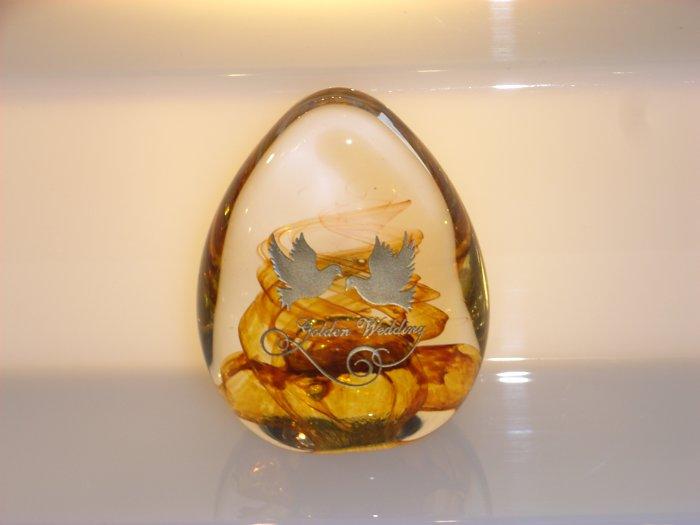 Scottish Borders Art Glass Golden Wedding Paperweight