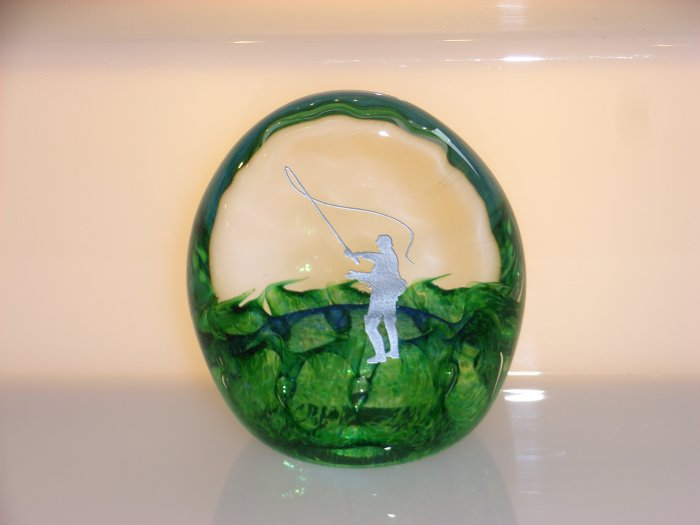 Scottish Borders Art Glass Fisherman Trophy / Paperweight