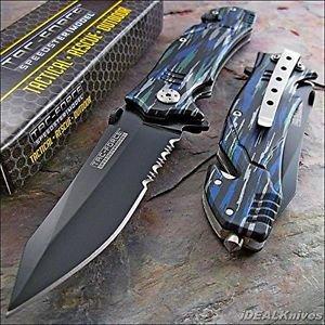Tac-force Blue Black Grey Camo Glass Breaker Rescue Knife