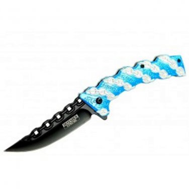 Defender Xtreme Chain Link AO Folding Knife - Blue - 8 inch