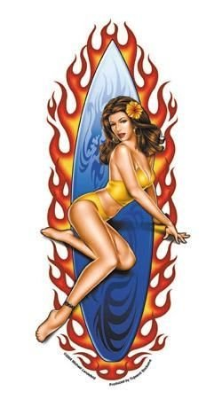Surfer Girl Sticker - Artwork by Michael Landefeld - Pinup Decal