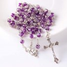 Purple Rose Rosary with Silver Finish Findings
