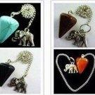 Tibet silver Elephant Pendulum - Mixed gemstone - dowsing, divination, spirits