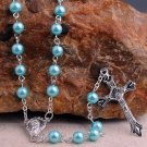 Aquamarine Pearl Full Size Rosary with Silver Finish Findings