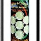 MYSTICAL FIXED 7 DAY GLASS CANDLE SEVEN LUCKY COINS - GREEN - Siete Monedas