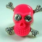 Hot Pink Faux Diamond Skull & Crossbones Ring - Goth, Punk - Chic Pirate Bling