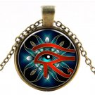 Eye of Horus Glass Cabochon Vintage Goldtone Pendant Necklace