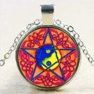 Blue Pentagram Glass Cabochon Tibetan Silver Pendant Necklace