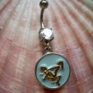 Naughty Cowgirl Position Navel Belly Button Ring Clear Zircon