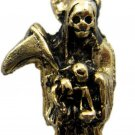 Holy Death Santa Muerte Amulet Talisman Pendant Goldtone