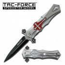 Tac Force Red Celtic Cross Linerlock Pocket Knife