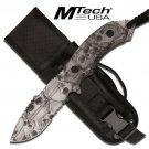 "Mtech Gray Skull Camo Fixed Blade Knife MT2018DSC 8"""