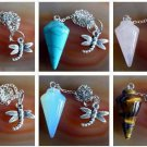 Mixed gemstone Pendulum with Tibet silver dragonfly - dowsing, divination