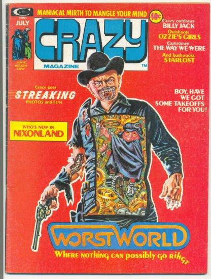 Crazy #5 Nixon West World Freas Art HTF 1974 Humor Mag!
