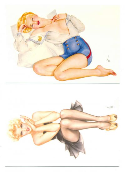 2 Antonio Vargas postcards Classic Good Girl Art !