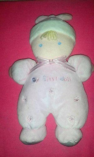 Carters Just One Year My First Doll Pink Blond Flowers Hat Rattle