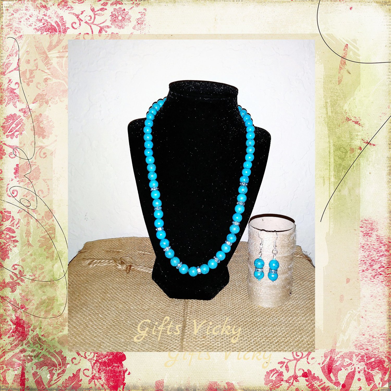 Turquoise Dyed Howlite Necklace/ Earring SET