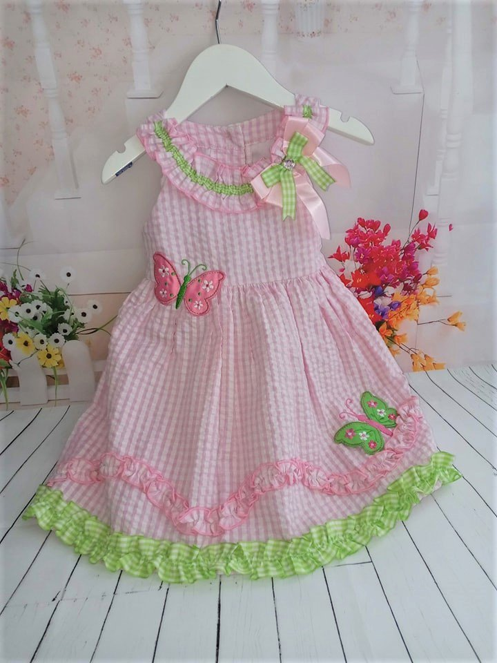 Rare Editions Toddler Girls Pink Gingham Butterfly Dress 2T
