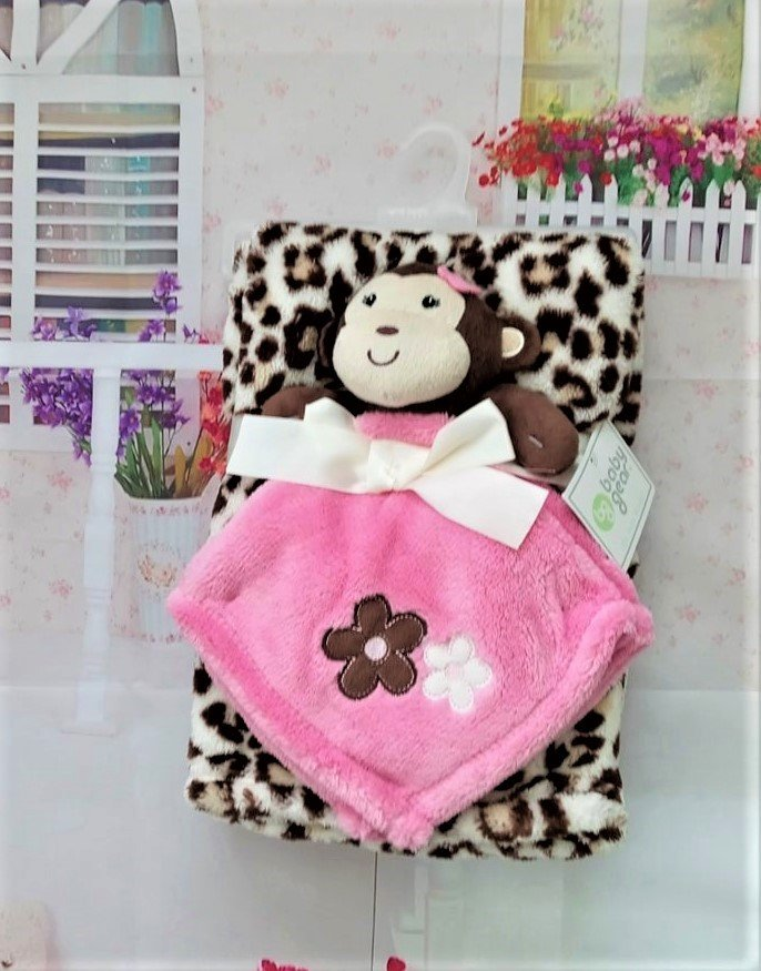 Baby Gear 2pc. Baby Blanket Brown Pink Monkey Flower Set
