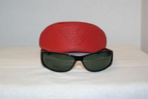 B. New Emporio Armani Black Sunglasses Mod 9066 & Case
